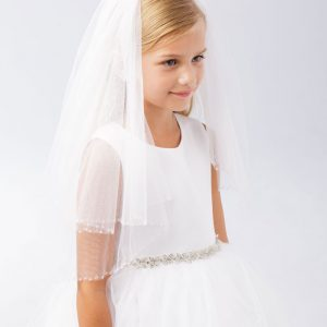 First Communion Veil with Clear Beaded Trim