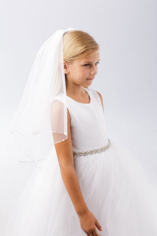 First Communion Veil with Clear Beads Edge