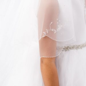 1st Communion Veil with Crystals Floral Motif