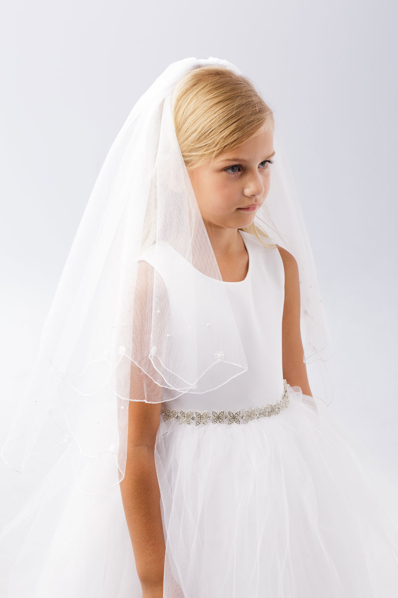 First Communion Veil with Lace Flower and Pearl Beads
