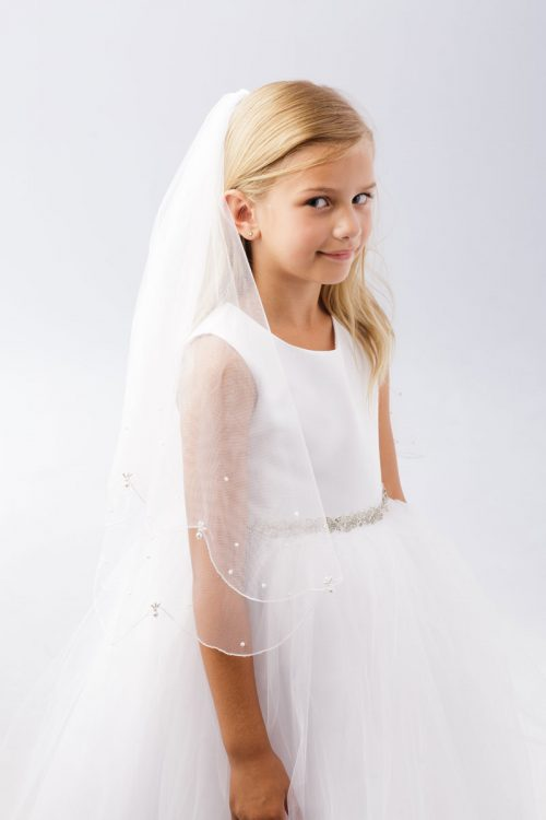 First Communion Veil with Pearl Drops Scalloped Edge