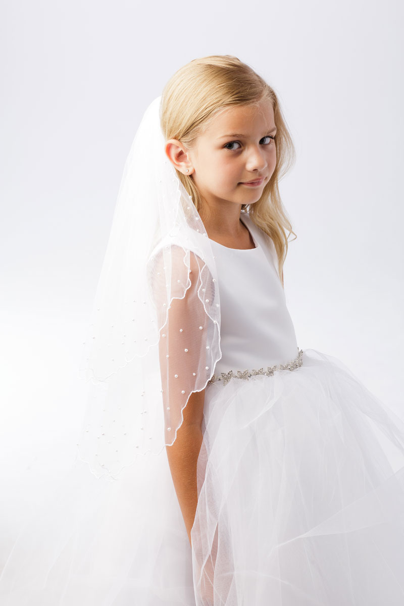 First Communion Veil with Pearls Scallop Edge