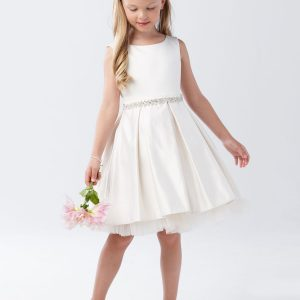 Ivory Short First Communion Dress with Pleated Skirt