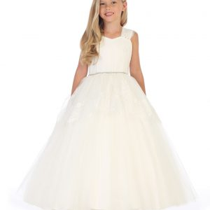 Ivory Satin First Communion Dress with Lace and Tulle
