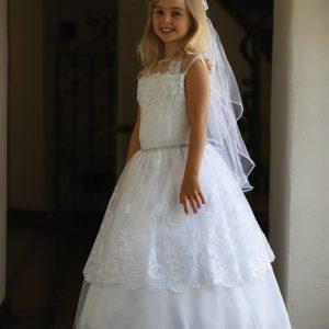 Lace 1st Communion Dress with Corset Back
