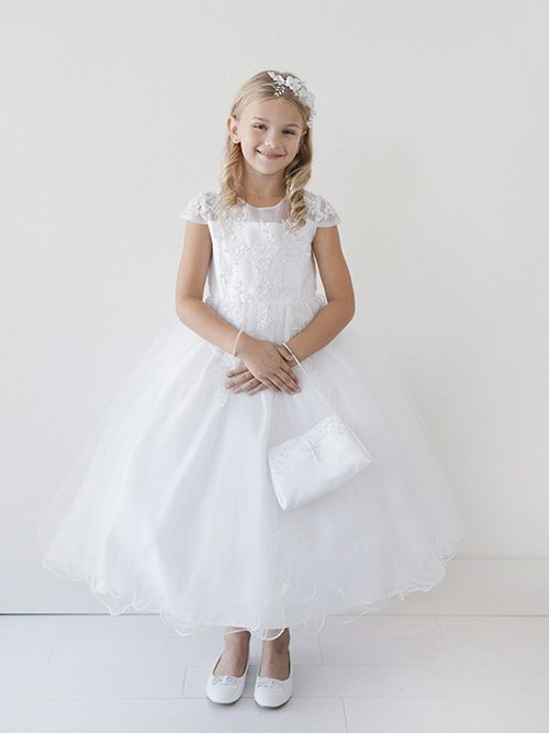 Lace Cap Sleeves First Communion Dress