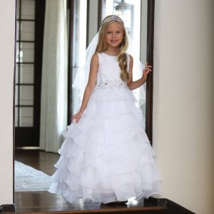 Lace First Communion Dress with Layered Organza Ruffles