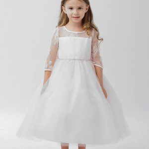 Lace First Communion Dress with Long Sleeves