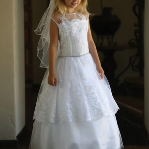 Lace First Holy Communion Dress with Corset Back