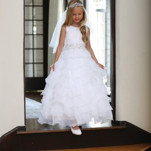 Lace First Holy Communion Dress with Layered Organza Ruffles