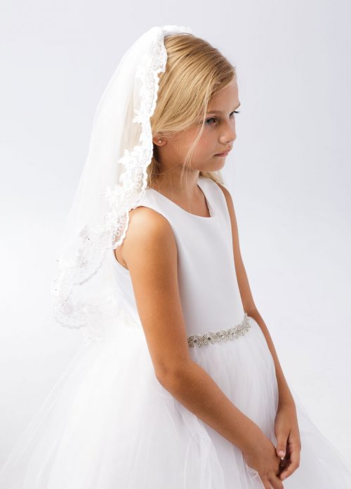 First Communion Veil with Floral Lace