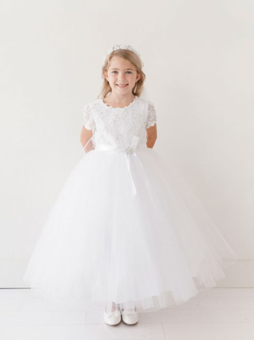 Short Sleeve Tulle Lace First Communion Dress