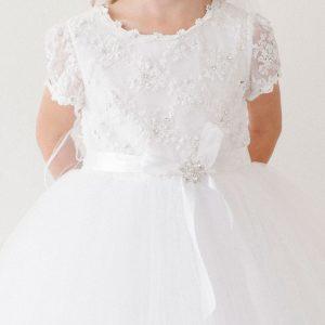 Short Sleeve Lace Communion Dress
