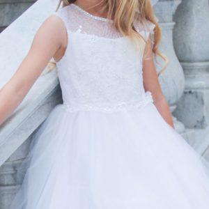 Girls Communion Dress Illusion Neckline