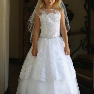 Layerd Lace First Communion Dress with Corset Back