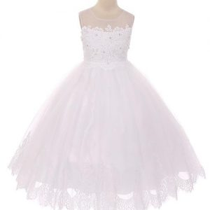 Long Length First Communion Dress Illusion V Neck with Lace Hem