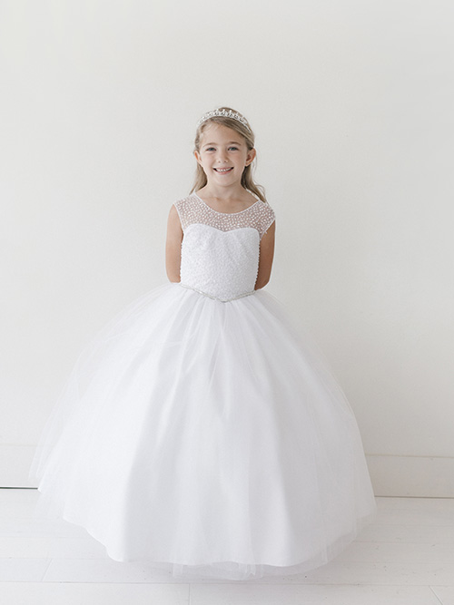 Floor Length Holy Communion Gown with Beaded Bodice