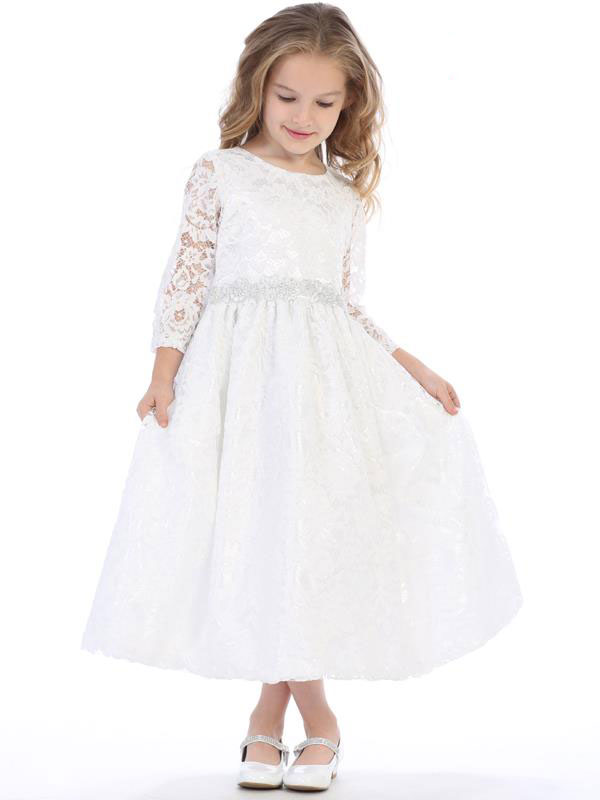 Long Sleeve Lace First Communion Dress with Silver Trim