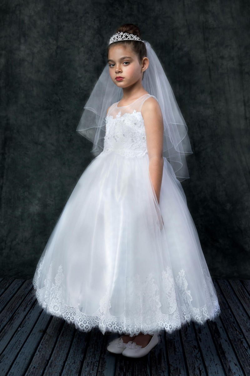 Organza And Lace First Holy Communion Dress White First