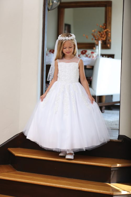 Modern First Communion Dress with Corset Back and Beading