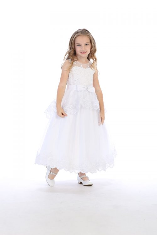 Modern First Communion Dress with Layered Lace Skirt