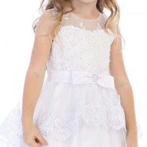 Modern First Communion Dress with Layered Lace Skirt and Beading