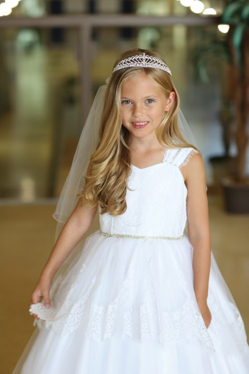 Modern First Communion Veil Crown Tiara