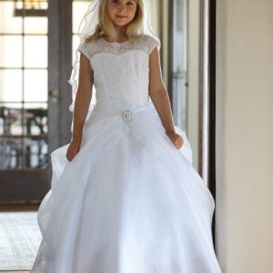 Organza First Communion Gown with Cap Sleeves