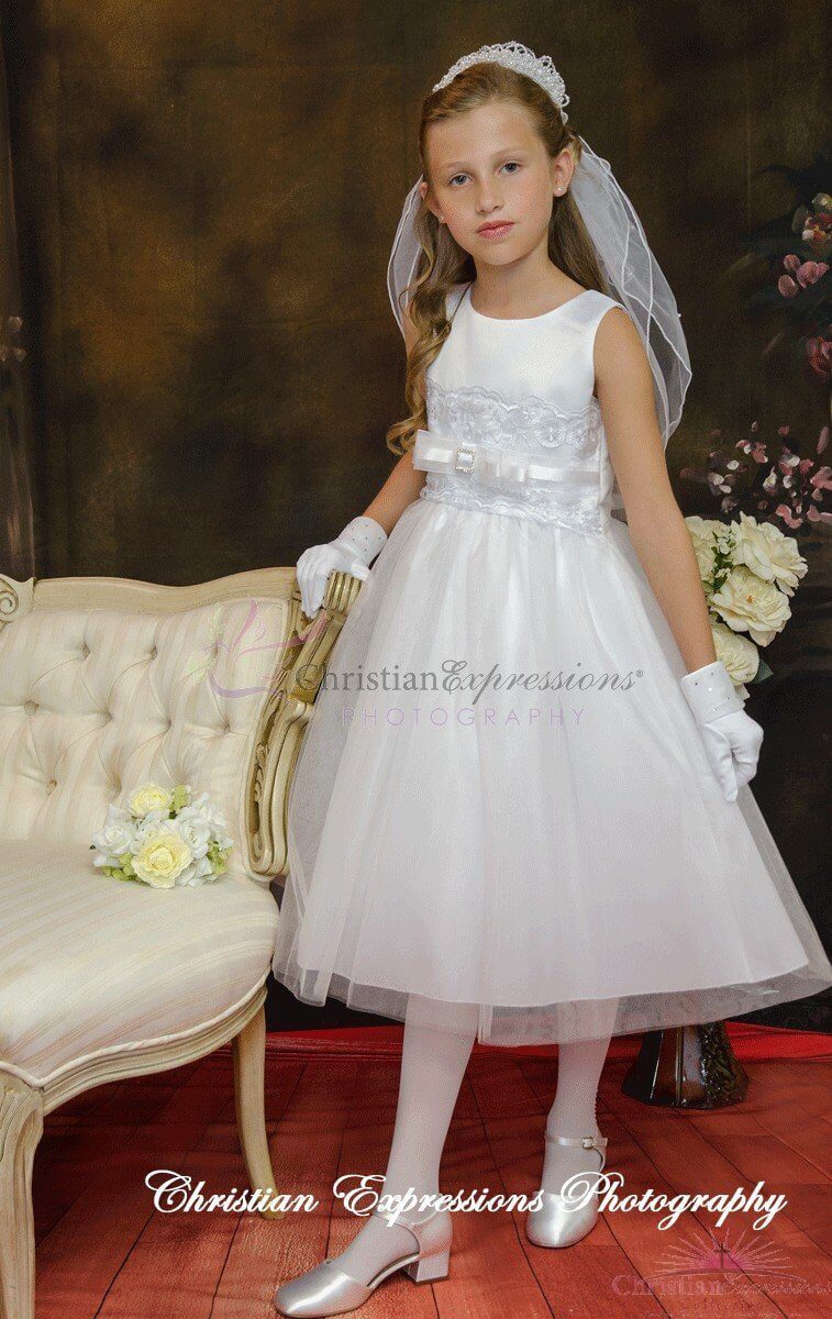 Satin Lace First Communion Dress Buy Plus Size Holy