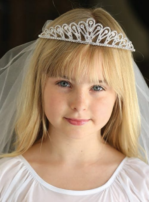 Elegant First Communion Tiara Veil