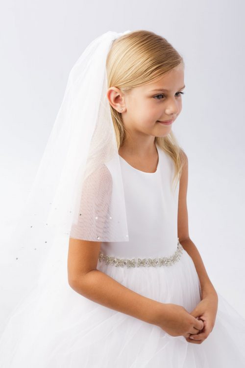 Rhinestone Beaded Holy Communion Veil
