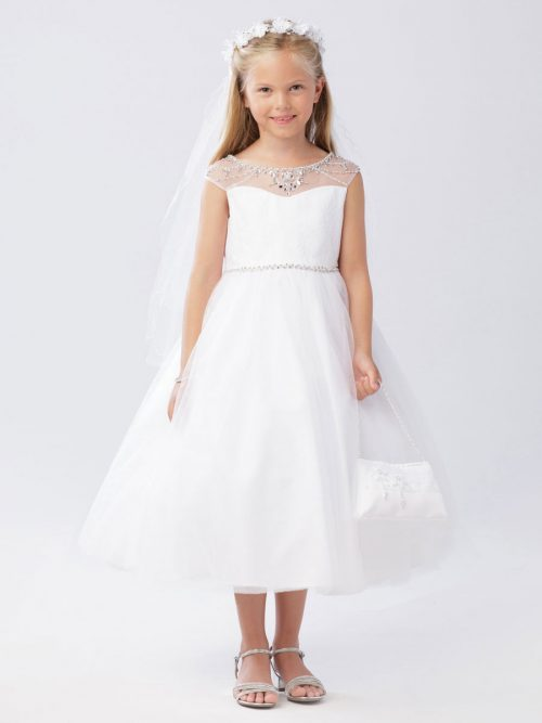 First Communion Dress with Crystal Beaded Neckline