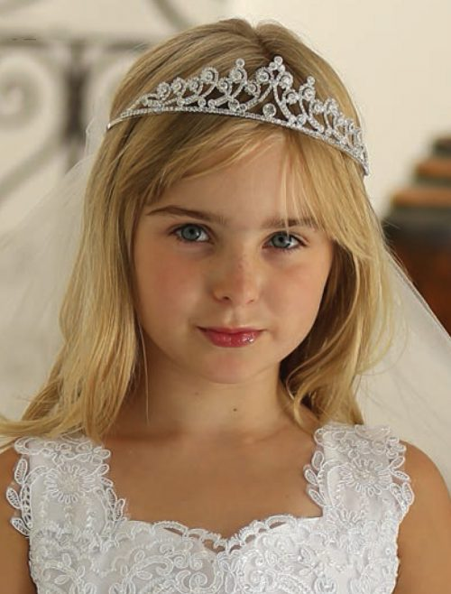 First Communion Veil Crown Headpiece Rhinestones and Crystals