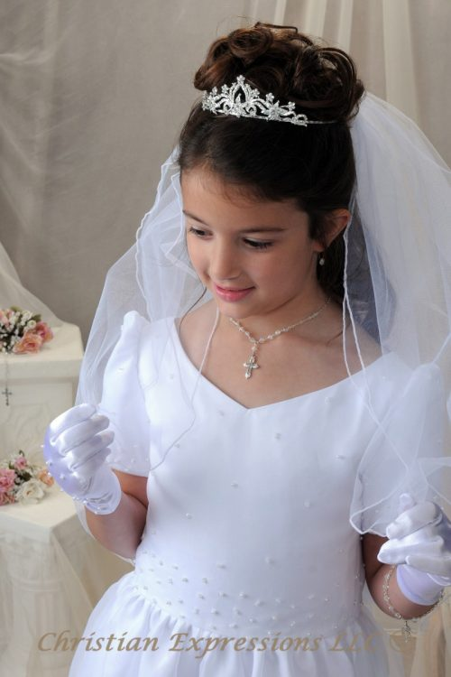 Rhinestone First Communion Tiara Crown 4393