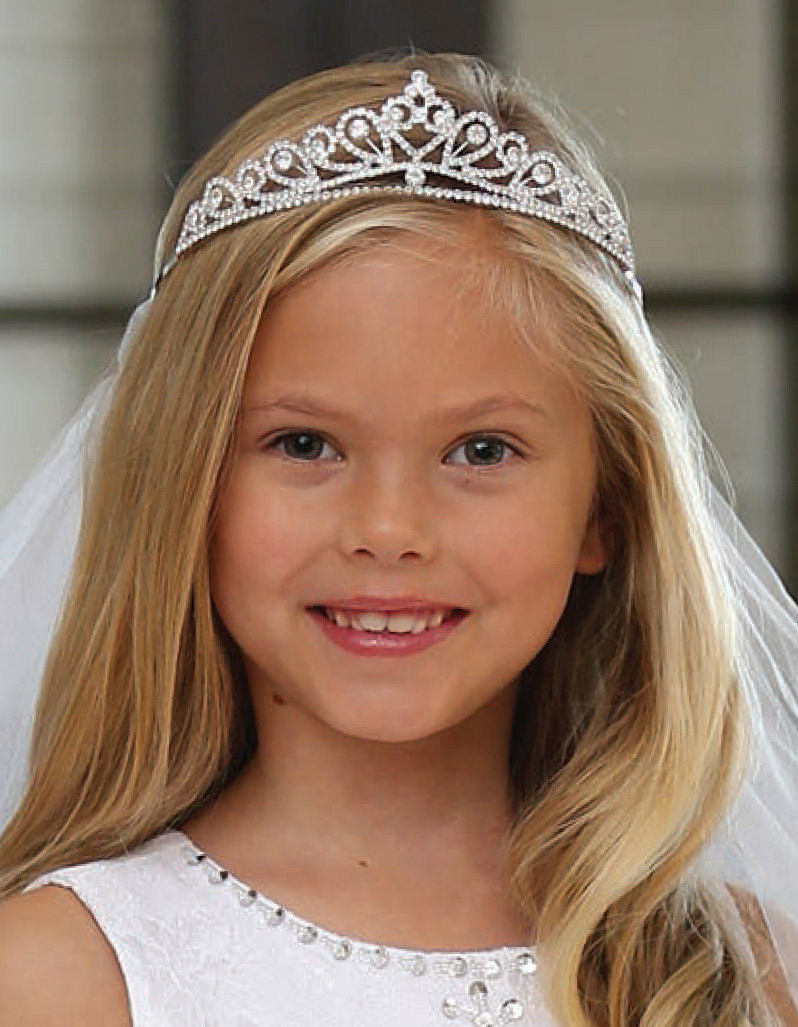 Beautiful Rhinestone Tiara First Communion Veil