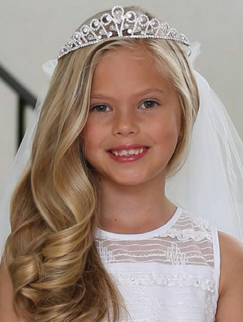 First Communion Veil Rhinestone Crystal Tiara with Swirl Design