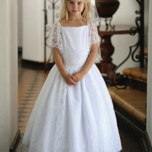 Satin and Lace First Communion Dress with Sleeves