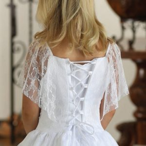 Satin First Communion Dress with Lace Flutter Sleeves Corset Back