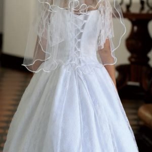 Satin First Communion Dress with Lace Sleeves