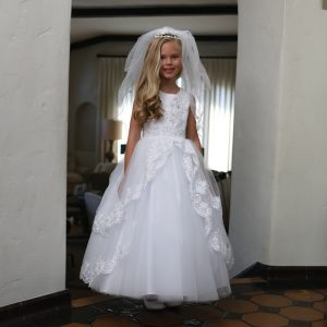 Satin First Communion Dress with Lace Up Corset Back