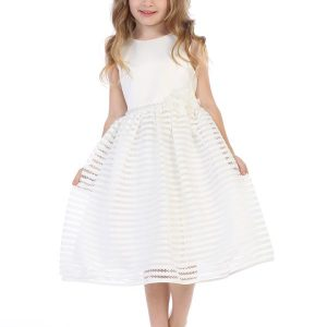 Satin First Communion Dress with Striped Skirt