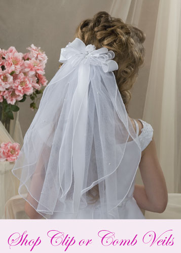First Communion Clip Comb Veils
