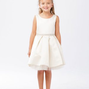 Short 1st Communion Dress with Pleated Skirt