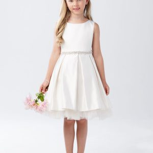 Short Ivory Communion Dress with Pleated Skirt