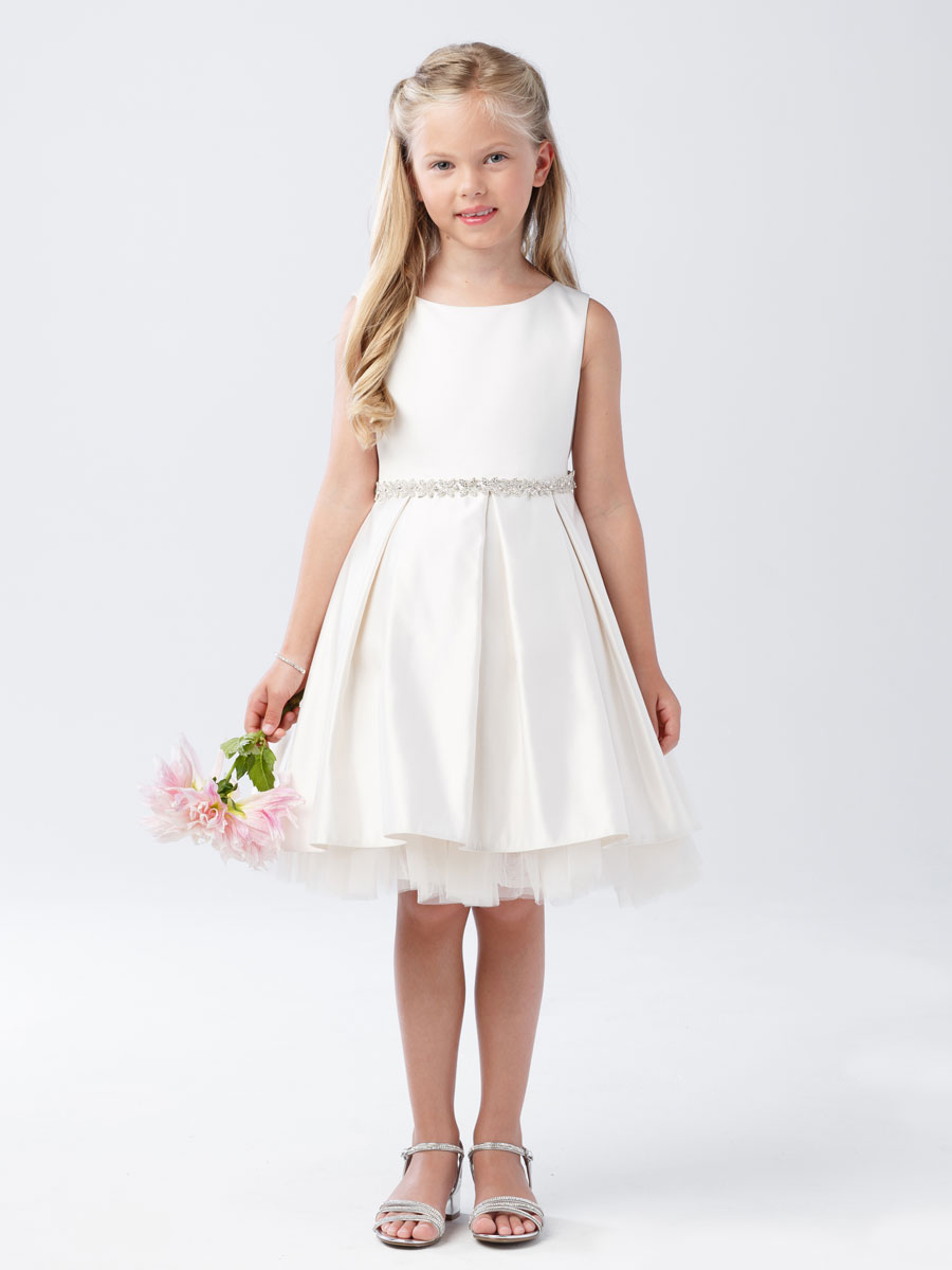 Short First Communion Dress With Pleated Skirt Girls