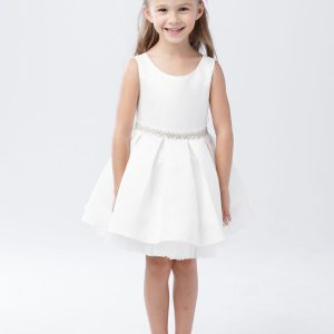 Short Length First Communion Dress with Pleated Skirt