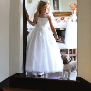 Sleeveless First Communion Dress with Corset Back and Beading