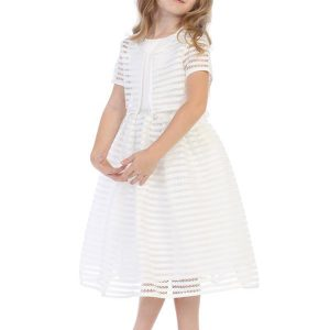 Striped First Communion Dress and Bolero