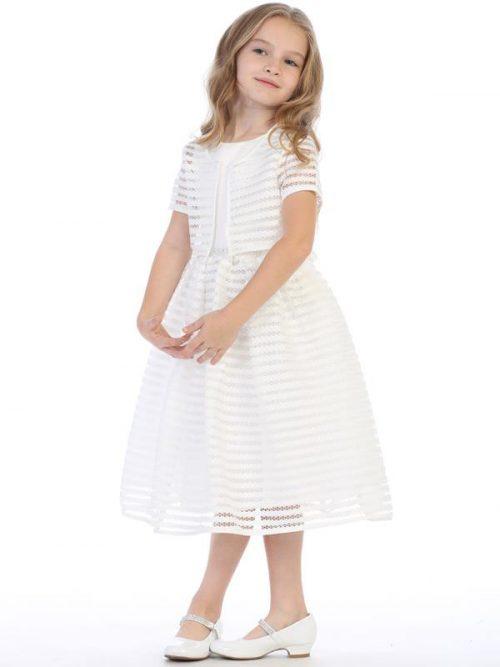Striped First Communion Dress and Bolero