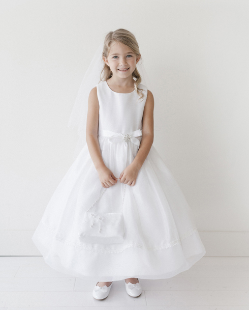 Ankle Length First Communion Dress with Organza Skirt